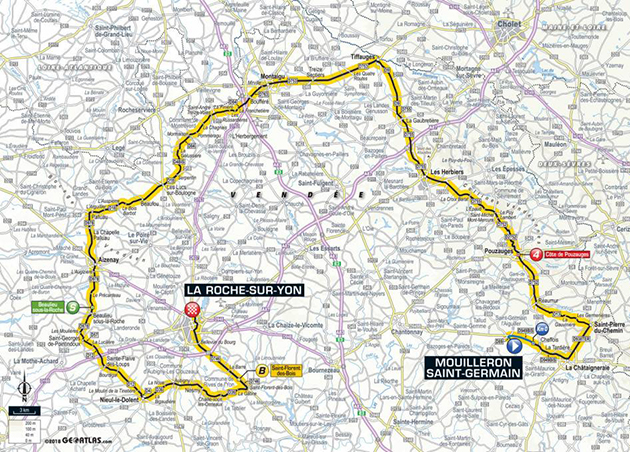 2018 Tour de fRance stage 2 map