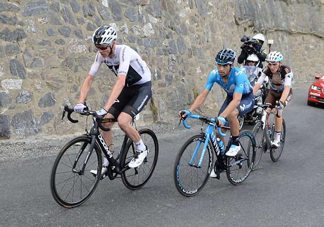 Chris Froome leads Mikel Landa