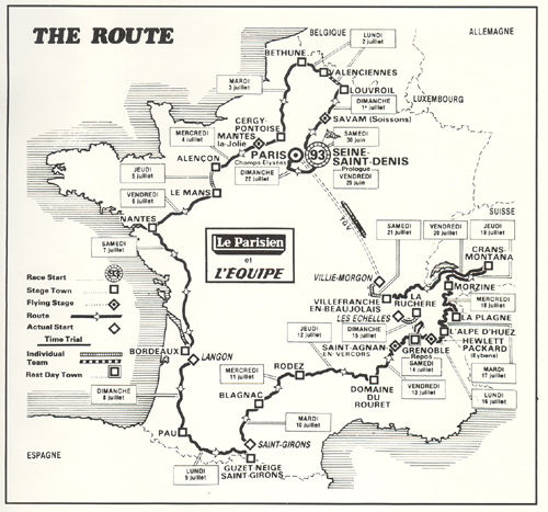 1984 Tour de France route map