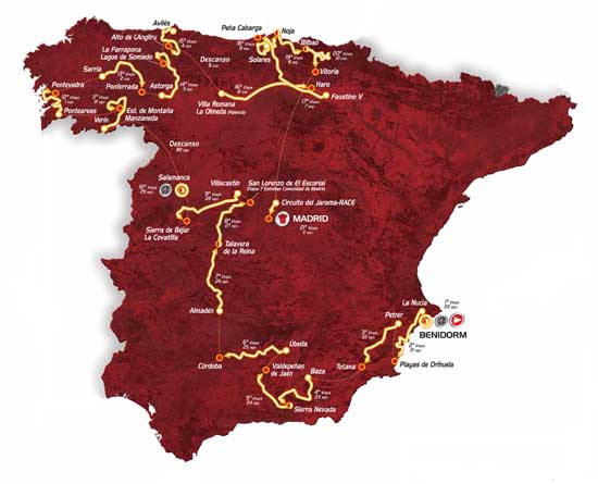 2011 Vuelta route map
