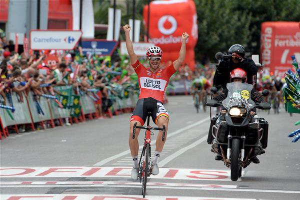 Lasse Norman Hansen winning stage 19 of the 2014 Vuelta